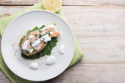 Paula Recommends …Honey Mustard Salmon with Feta Yogurt Sauce